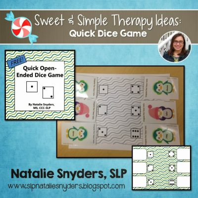 Sweet and Simple Therapy Ideas: Quick Dice Game