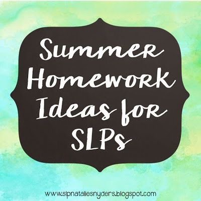 Summer Homework for Speech-Language Therapy