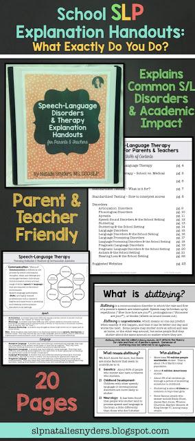 SLP Explanation Handouts for Parents and Teachers