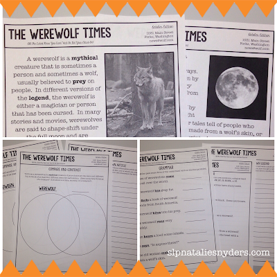 Werewolf Language Activities for Upper Elementary and Middle School Students